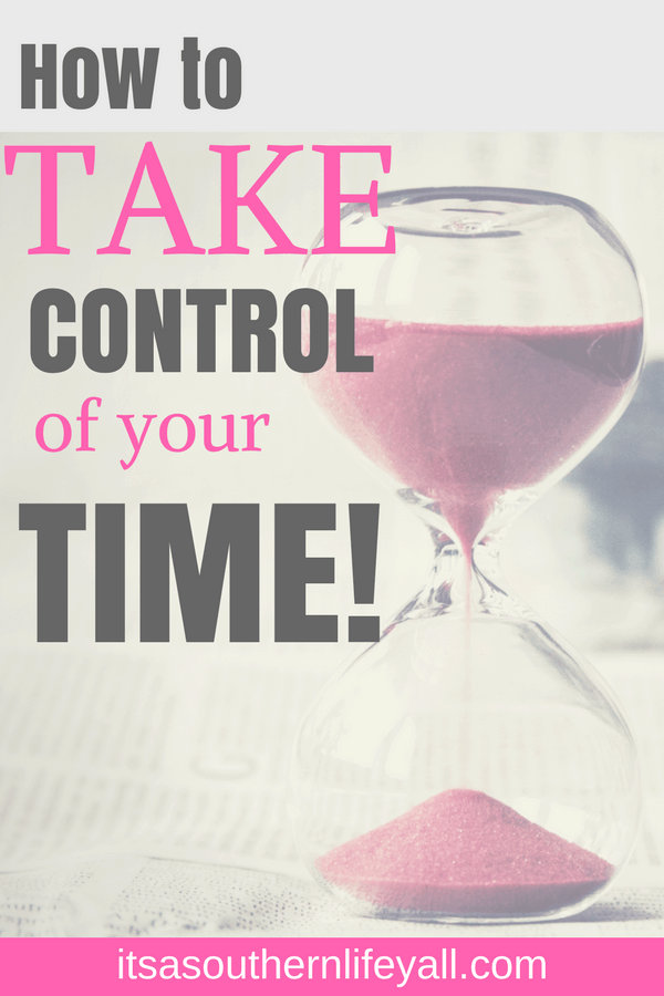 Hourglass with take control of your time text overlay - Stop Using Alt Tags for Pinterest Pin Descriptions