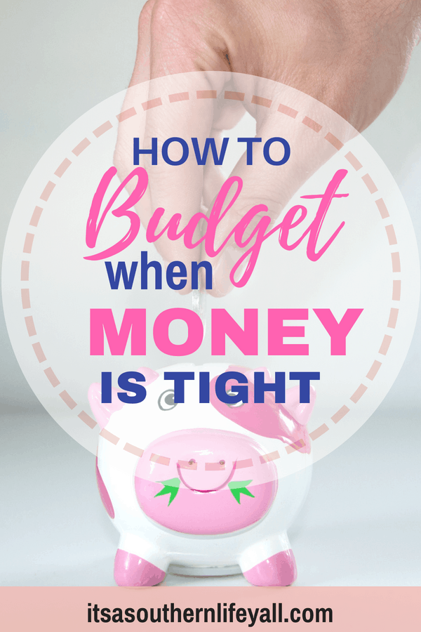 Putting money in a piggy bank with how to budget when money is tight text overlay - Stop Using Alt Tags for Pinterest Pin Descriptions