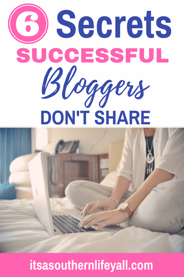 Woman typing on computer with 6 secrets successful bloggers don't share text overlay - Stop Using Alt Tags for Pinterest Pin Descriptions