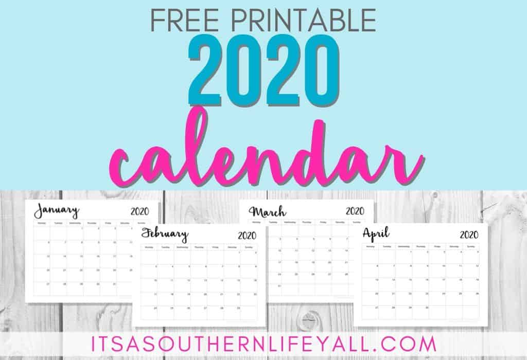 Button to lead you to the 2020 Free Calendar