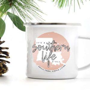 It's a Southern Life Y'all logo camp mug 10 oz. Mug has silver rim.