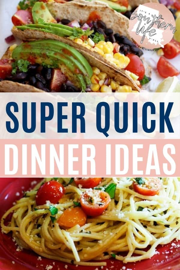 """Do you find yourself scrambling when you hear """"what's for dinner""""? Here you will find 20 super quick dinner ideas to add to your meal planning. Best part is they are all budget friendly!"""