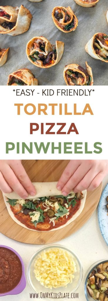 TORTILLA PIZZA ROLLUPS from On My Kids Plate