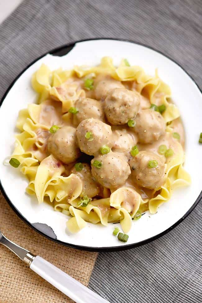 Easy Creamy Swedish Meatballs with Noodles from Mighty Mrs.