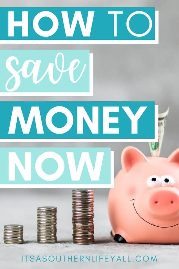 Piggy bank with stacked coins with how to save money now text overlay.