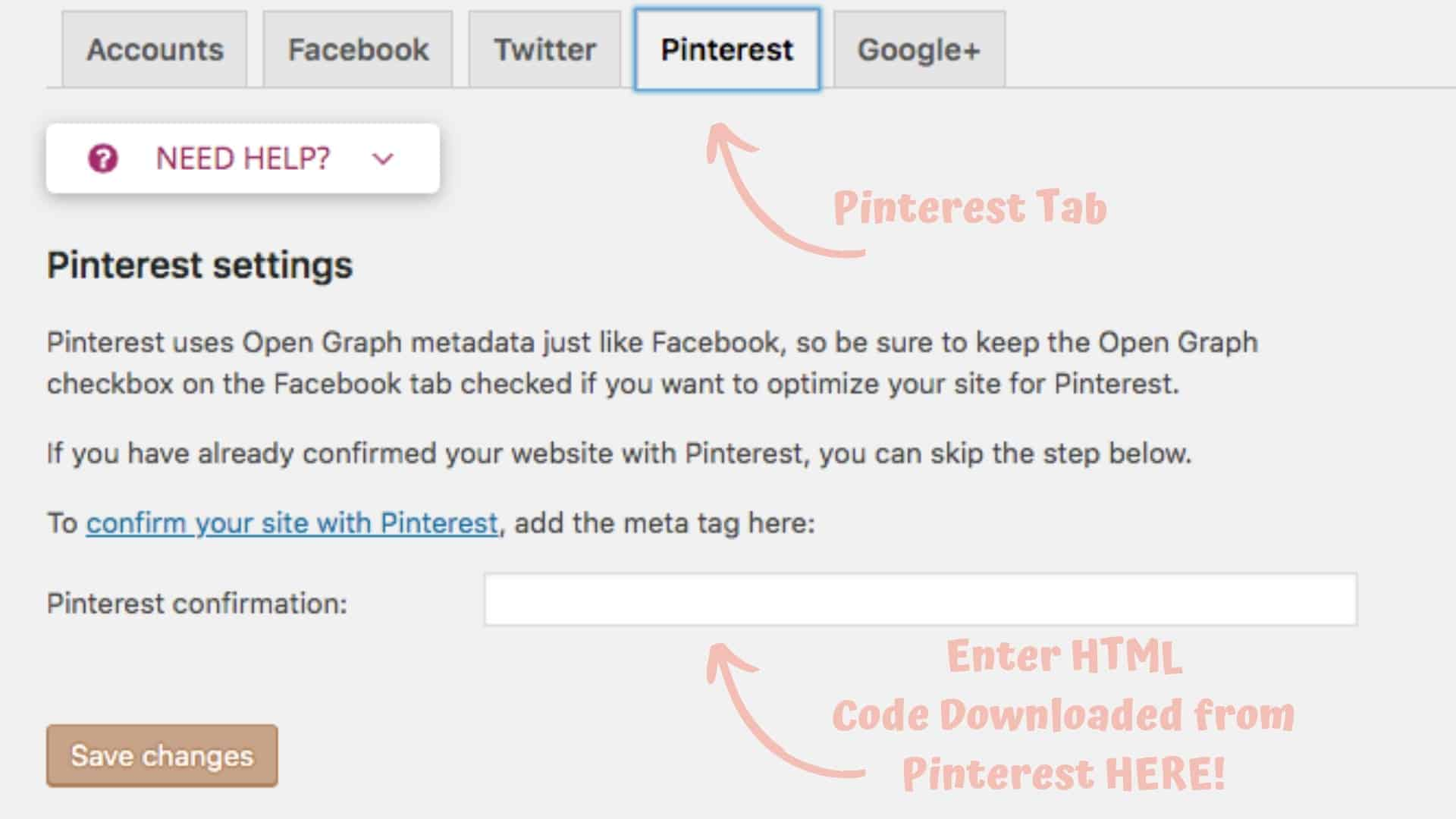 Screenshot of Yoast plugin showing the Pinterest tab and where to enter HTML code.