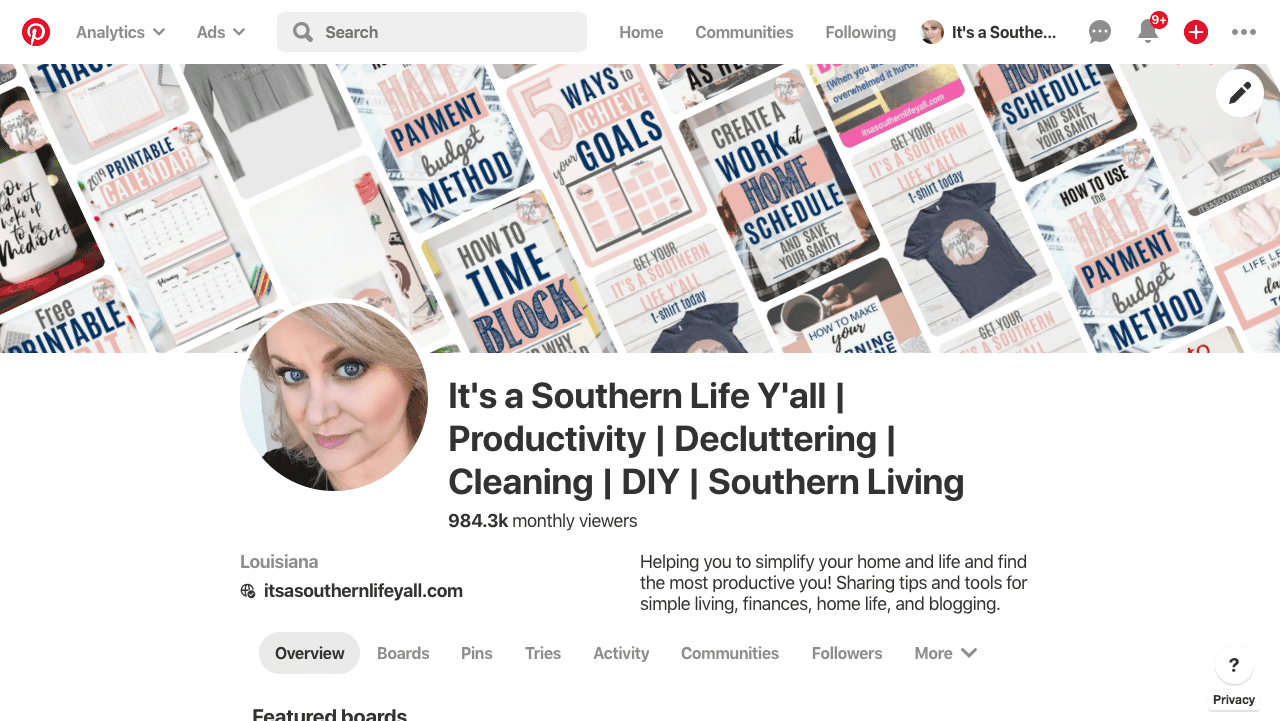 Screenshot of Pinterest Profile for It's a Southern Life Y'all
