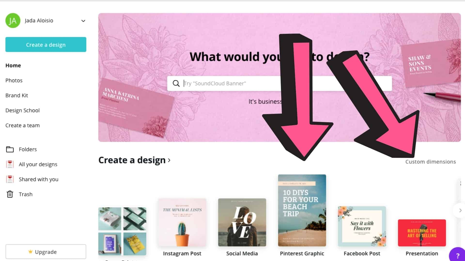 Screenshot of Canva home page showing Pinterest design layout and custom dimensions.