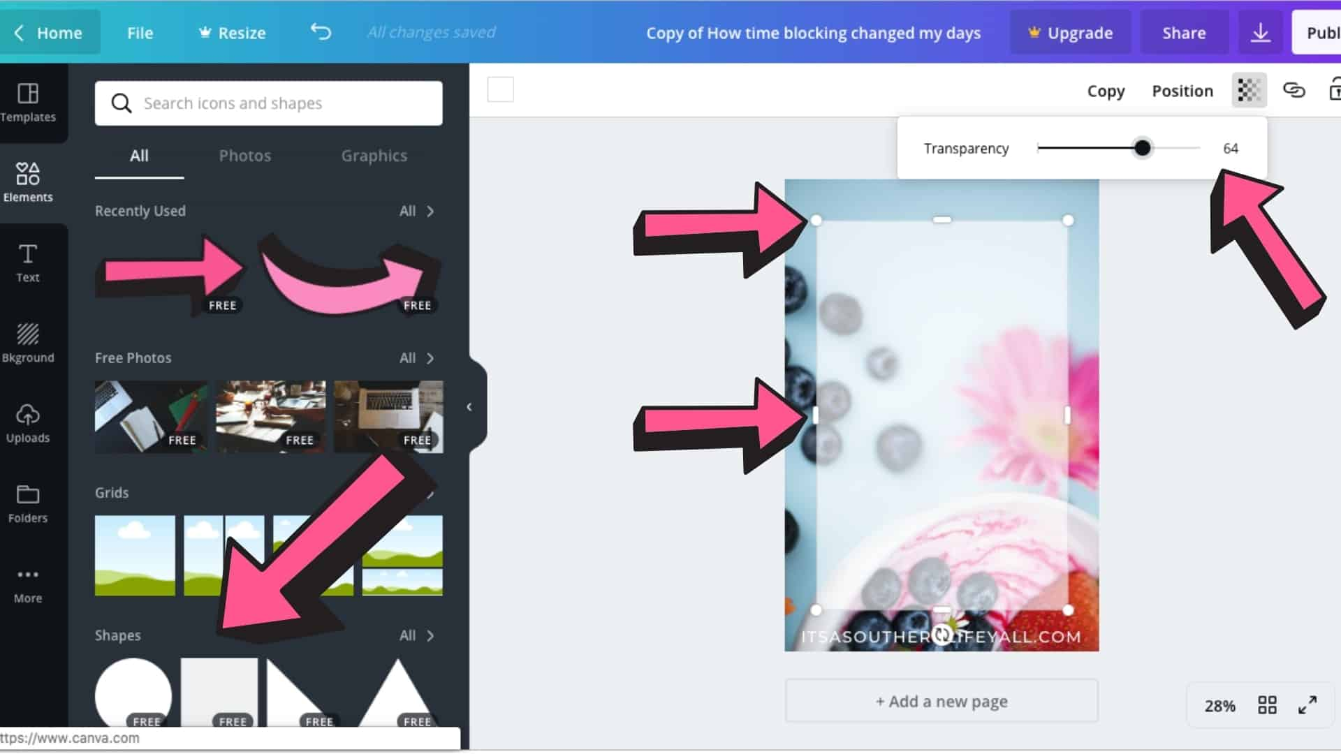 Screenshot of steps to create an overlay in Canva.