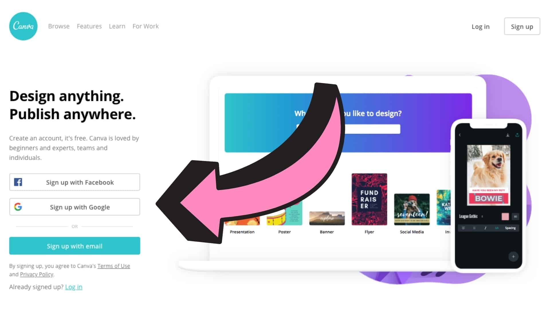 The home page of Canva with an arrow pointing to the area to sign up.