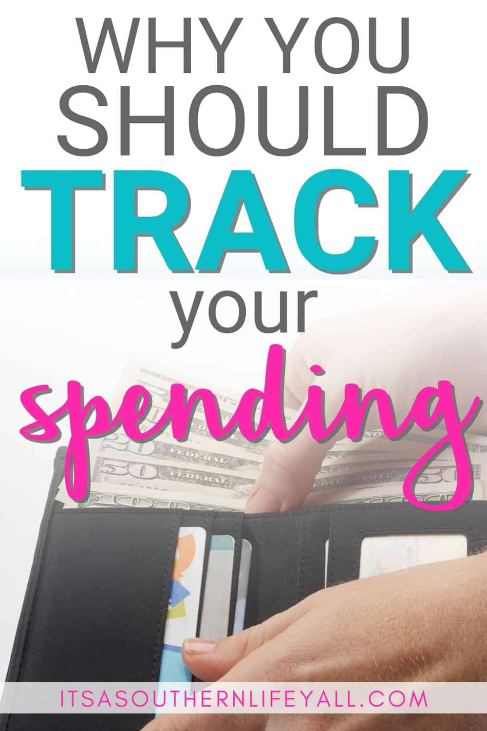 Wallet with money with text overlay Why you should track your spending