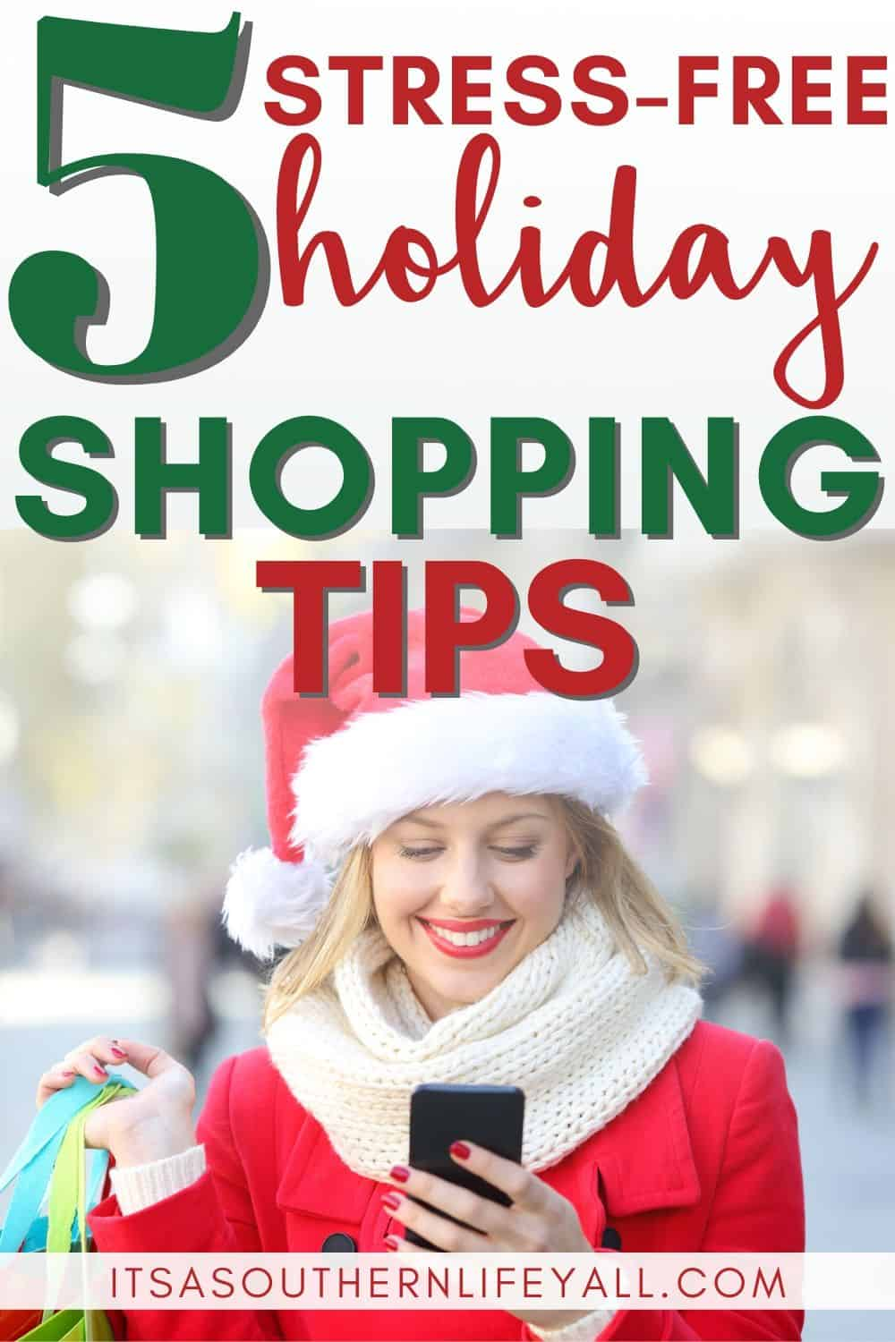 Woman Christmas shopping smiling with 5 stress-free holiday shopping tips text overlay.