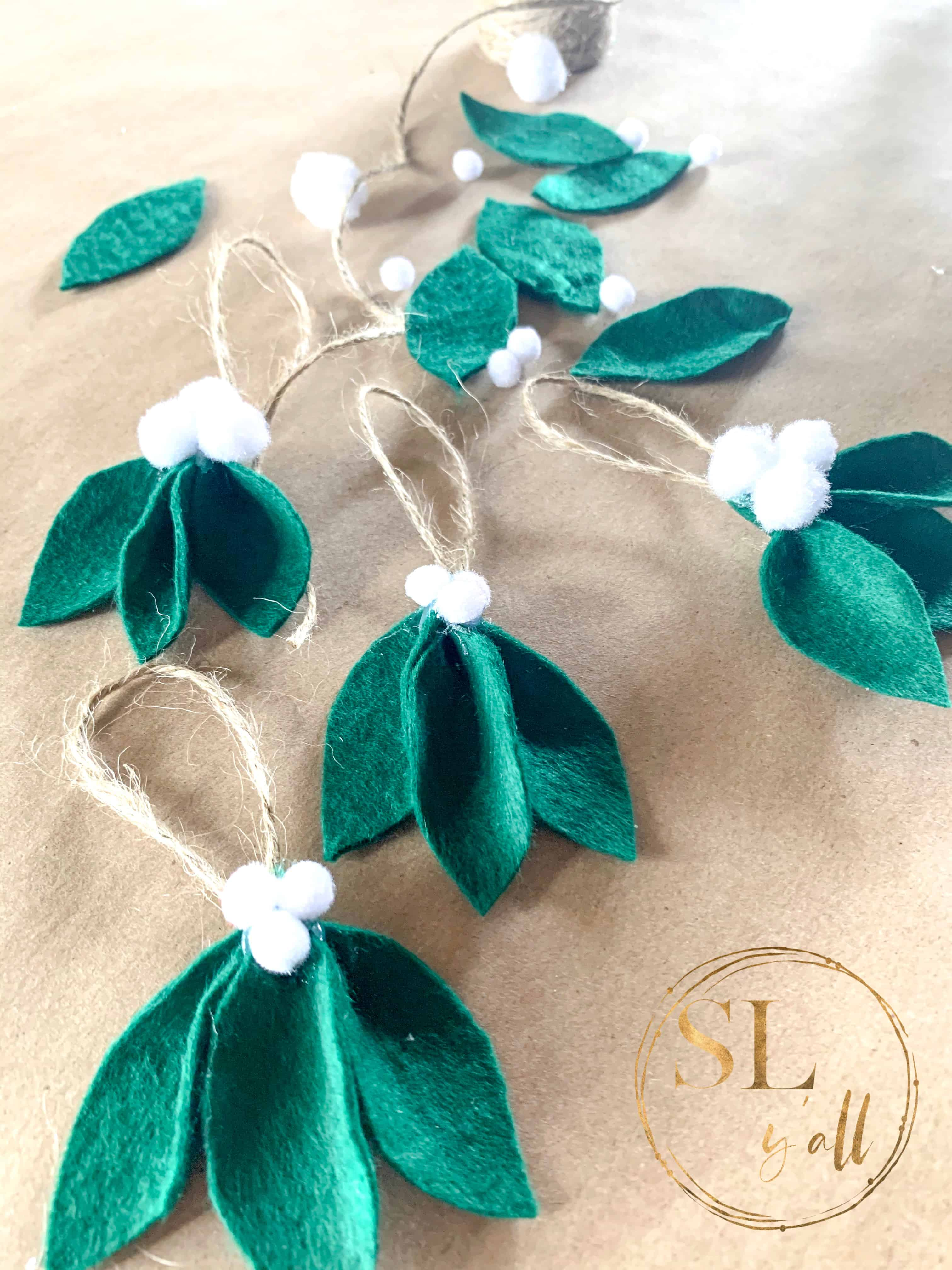 Farmhouse Felt Leaf Ornaments completed