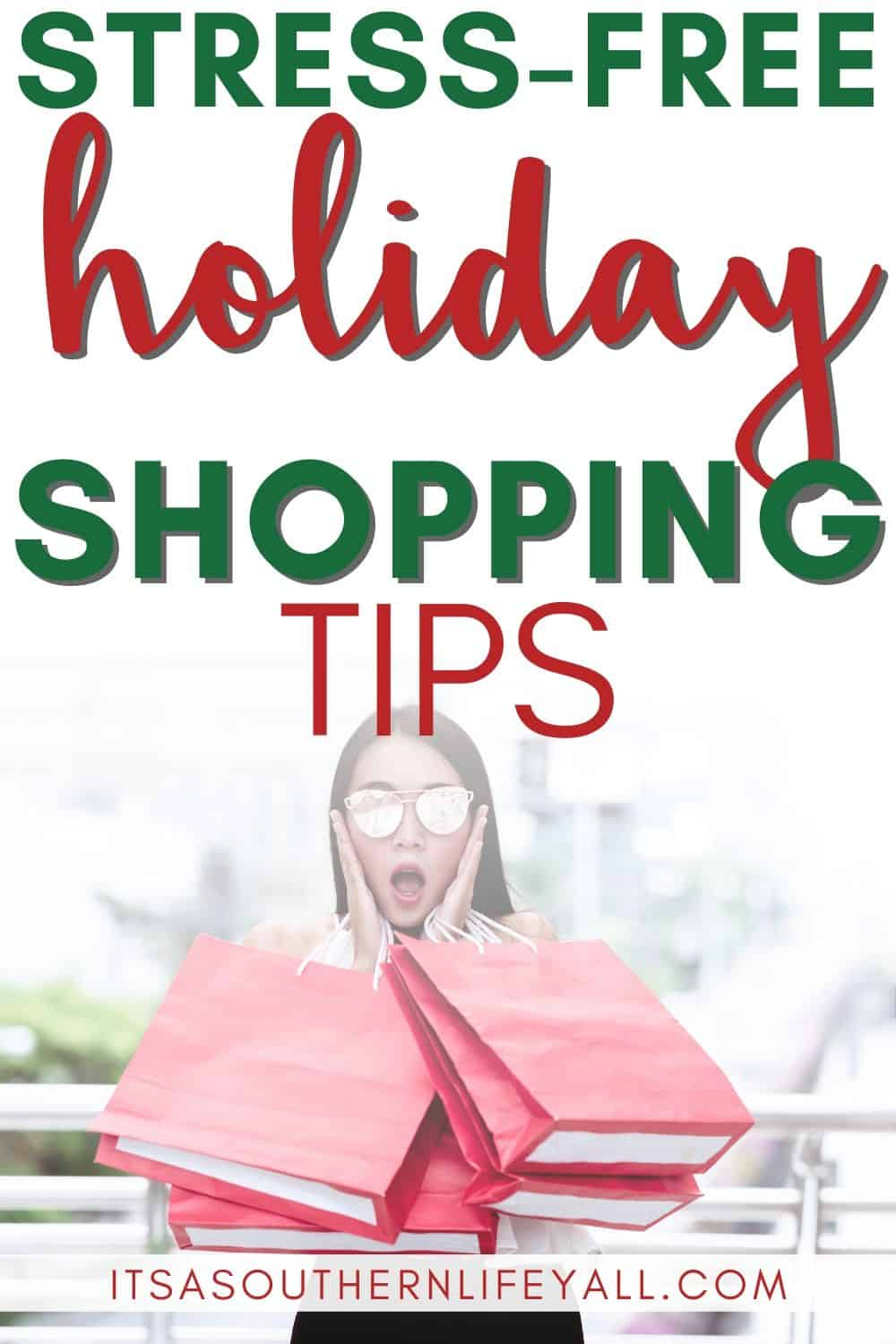 Woman holding side of face with exasperated expression and multiple shopping bags. Stress-free holiday shopping tips text overlay.