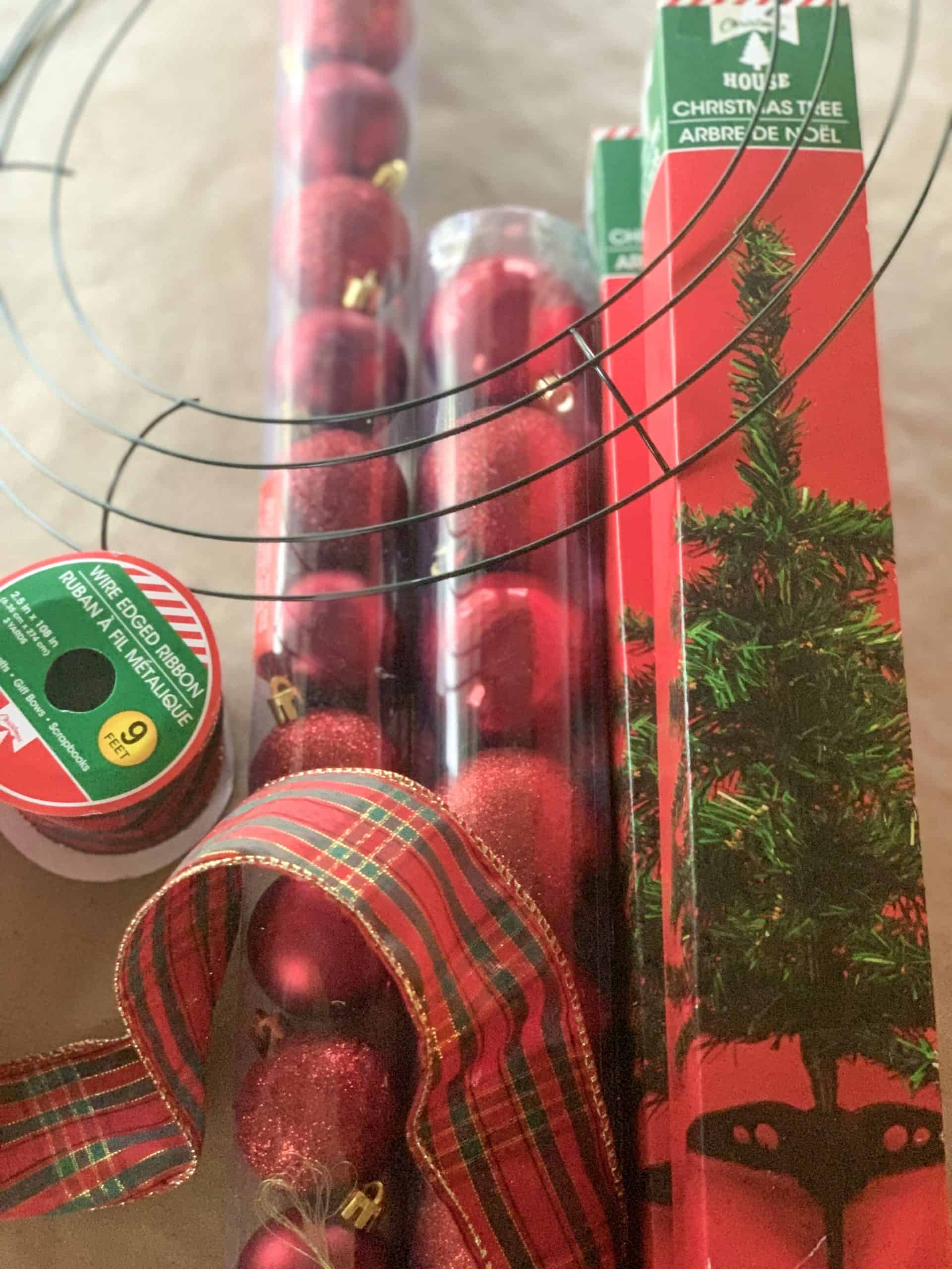 Supplies needed for Dollar Tree Christmas Wreath DIY