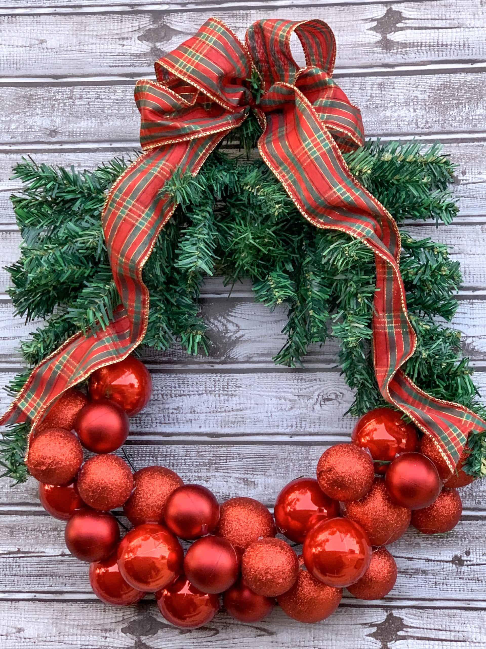 Finish Dollar Tree Christmas Wreath.