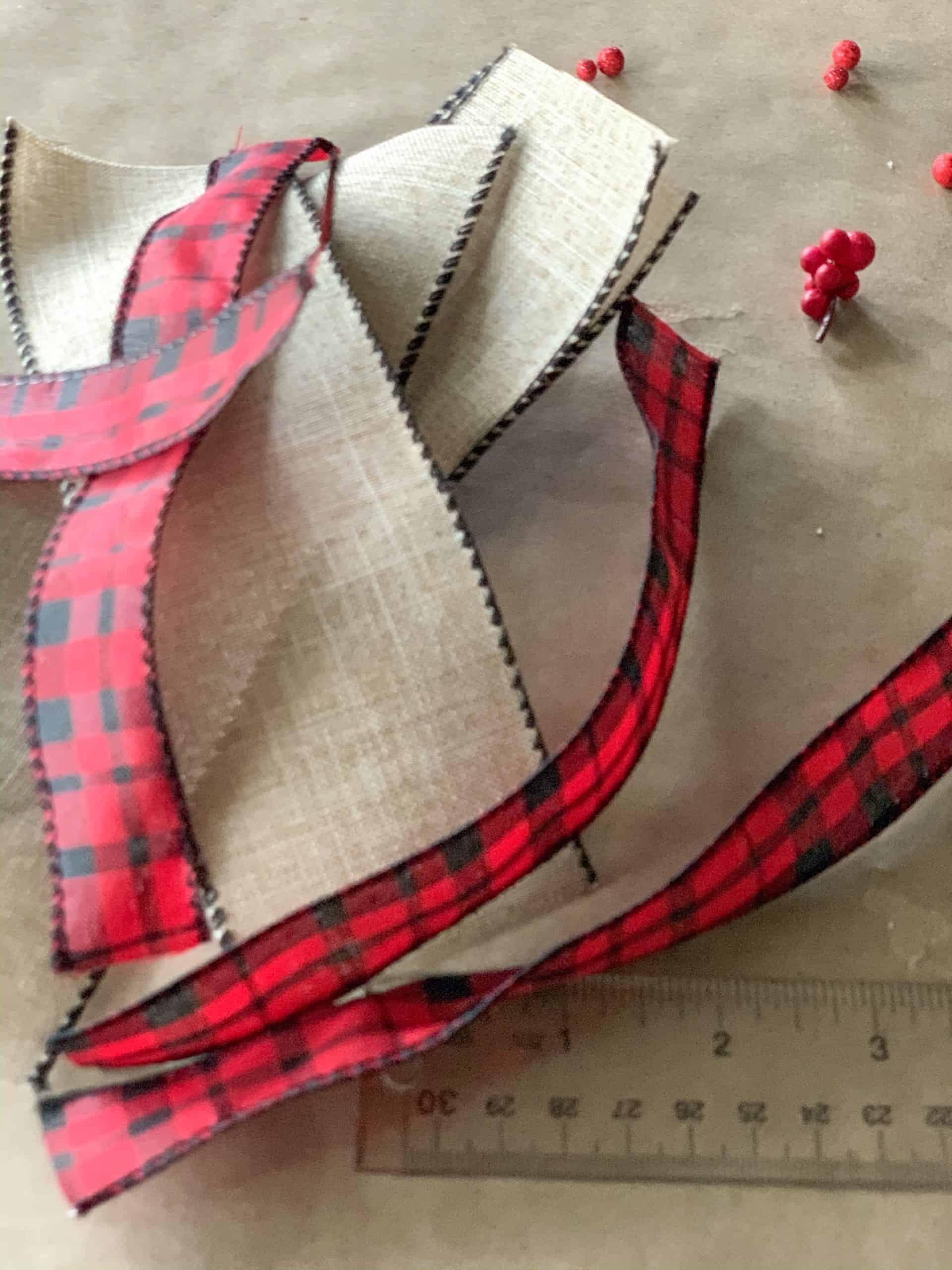Cut accent ribbon for ribbon poinsettias.