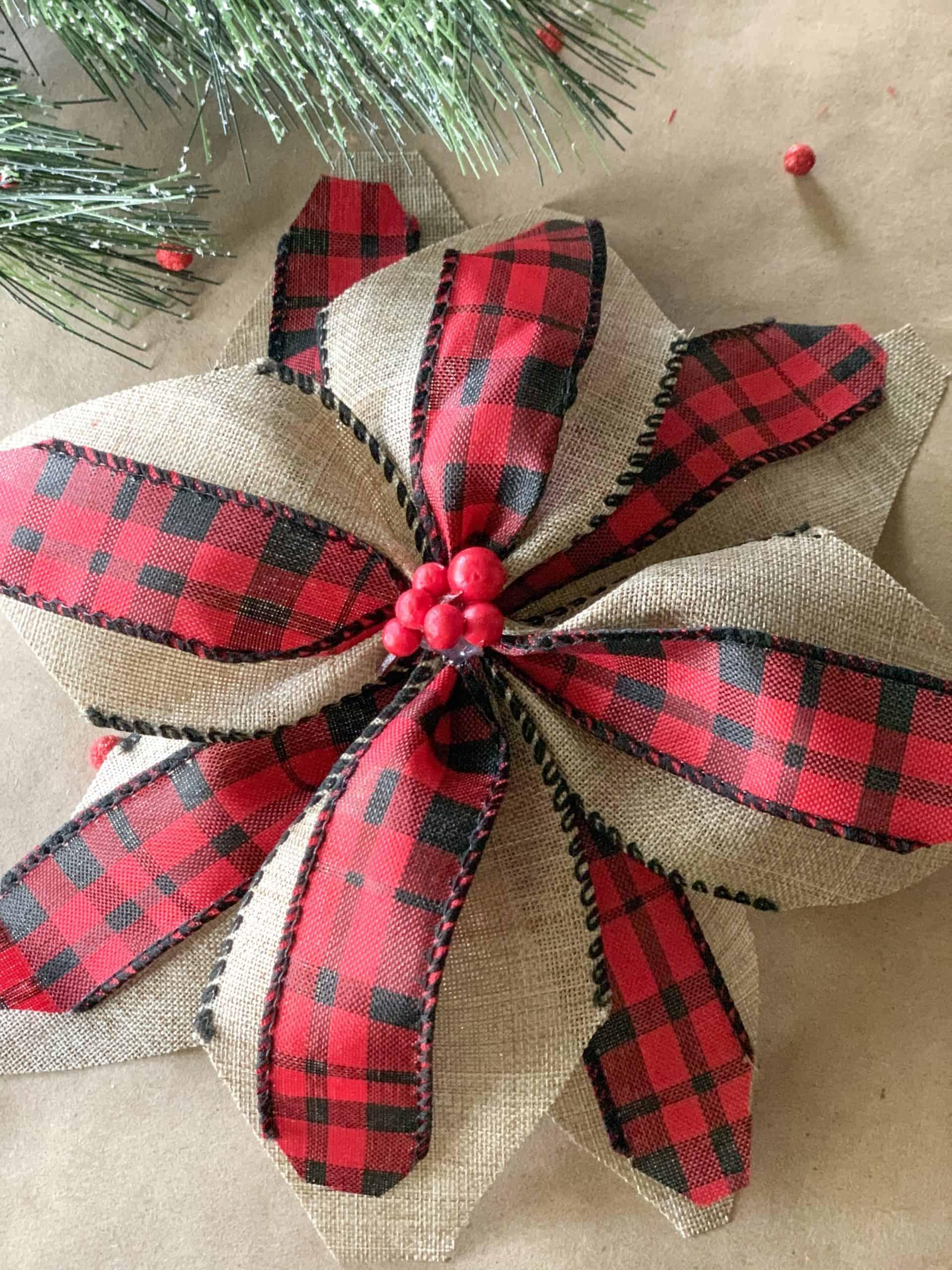 finished ribbon poinsettia.