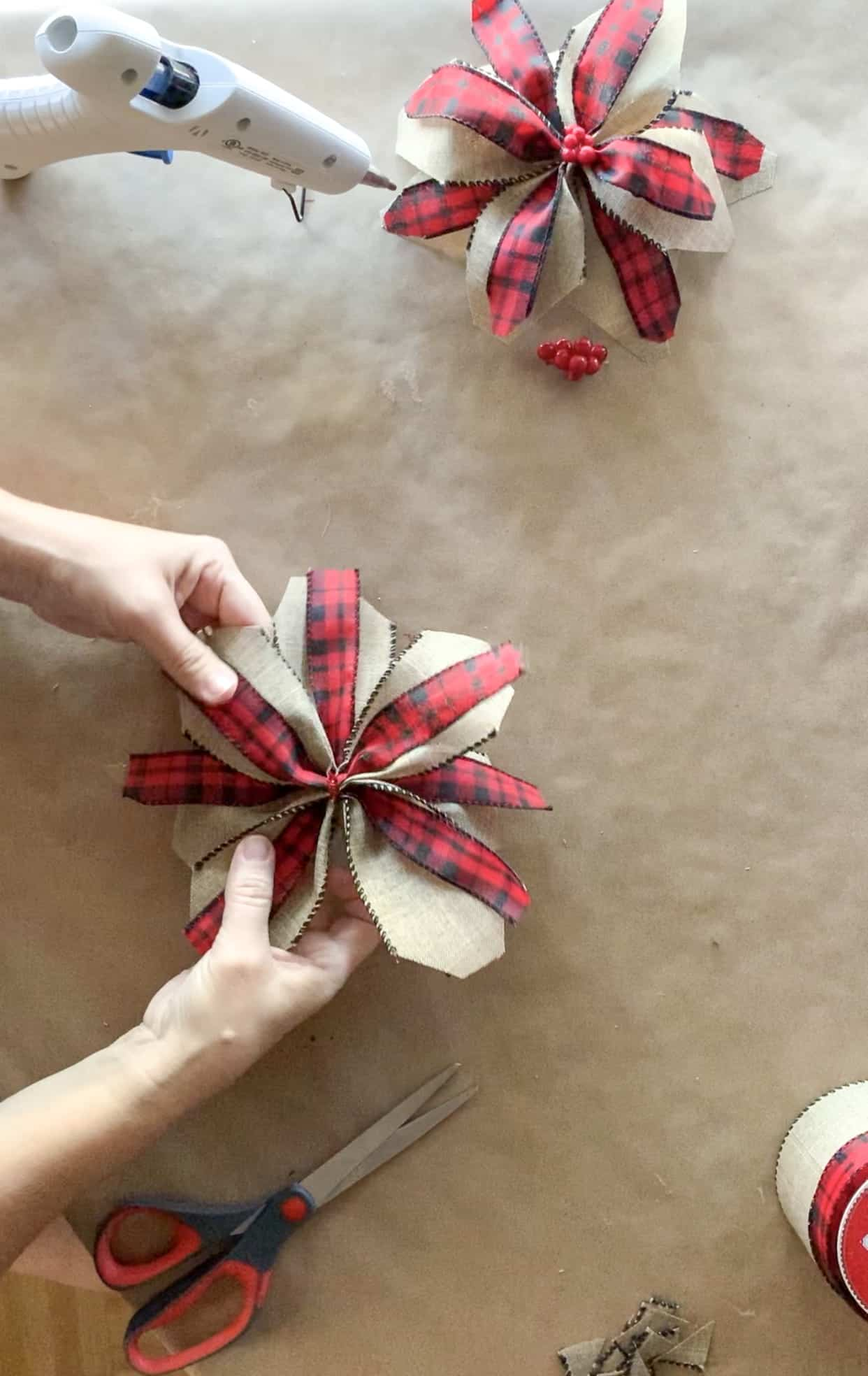 Fluffing ribbon poinsettia.