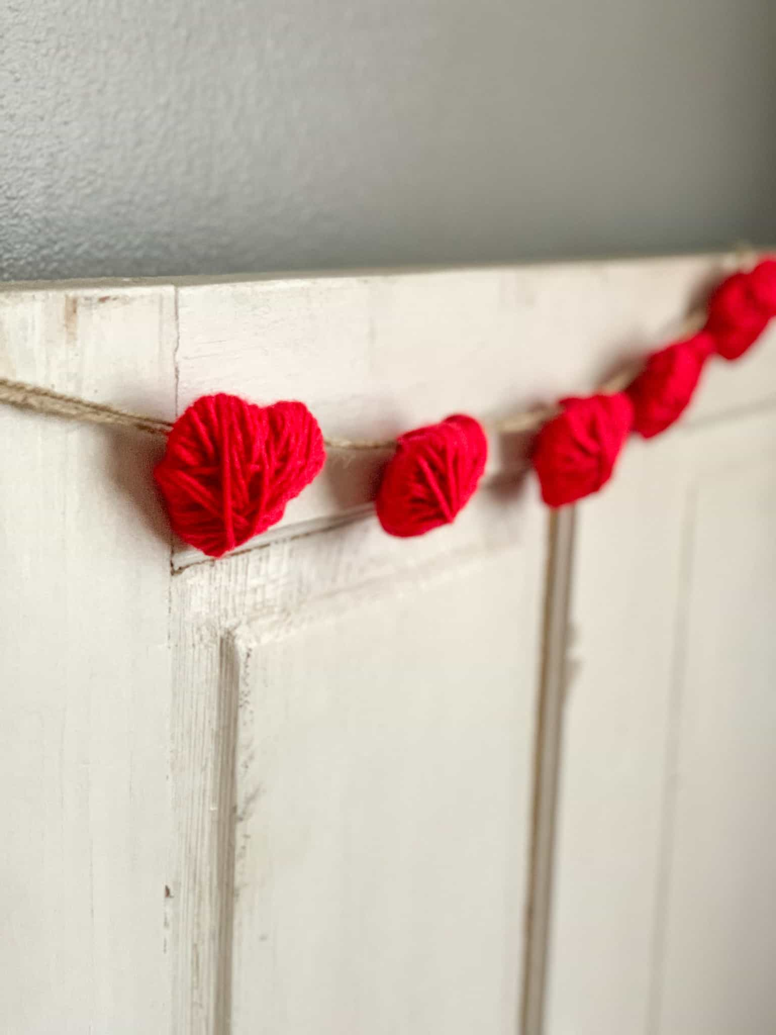 Yarn wrapped heart garland.