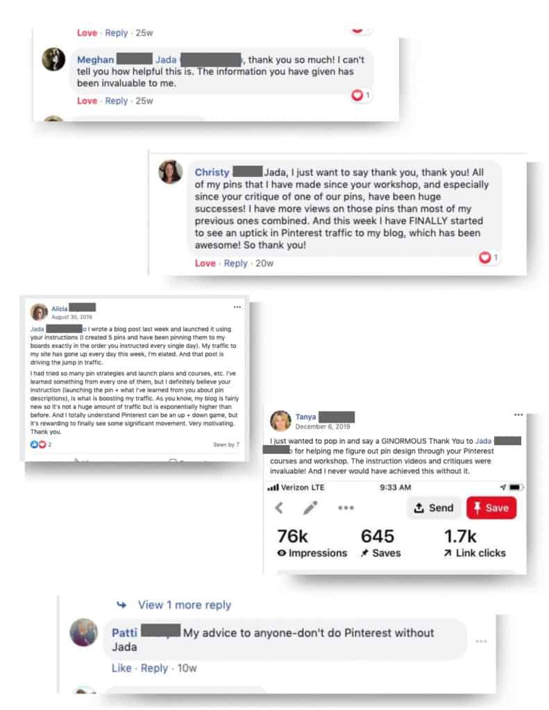 clips of testimonials from Facebook on my Pinterest trainings.