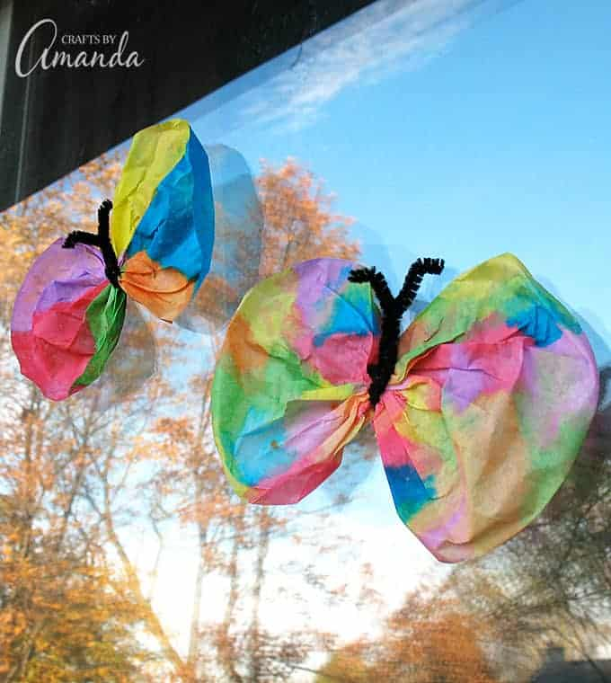Two color coffee filter butterflies.
