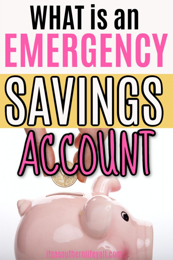 A coin being dropped into a pink piggy bank with text overlay stating What is an emergency savings account.